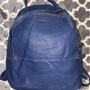 Auth Burberry leather laptop backpack